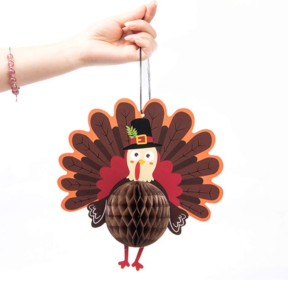 Is Well Tissue Honeycomb Thanksgiving Turkey Colgante decorativo colgante para Harvest Festival Decoraci/ón de Acci/ón de Gracias