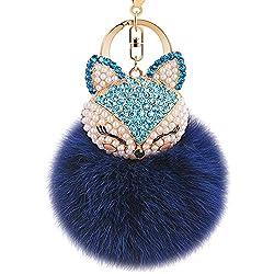 Navy-Blue Fur Ball Keychain with Fox Head Studded with Rhinestone