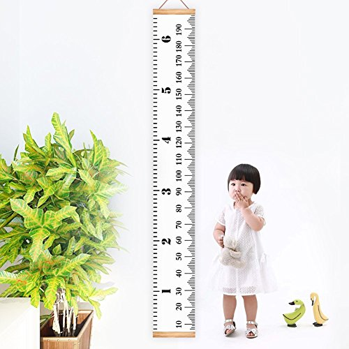 Kbnian Baby Height Growth Chart Hanging Canvas Ruler Wood Frame Fabric Ruler Room Wall Decoration for Kids, Boys & Girls 78.7 inch x 7.9 ()