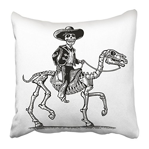 Emvency Decorative Throw Pillow Covers Cases The Rider in Mexican Man National Costumes Galloping on Skeleton Horse Dia De Los Muertos Vintage 16x16 inches Pillowcases Case Cover Cushion Two -