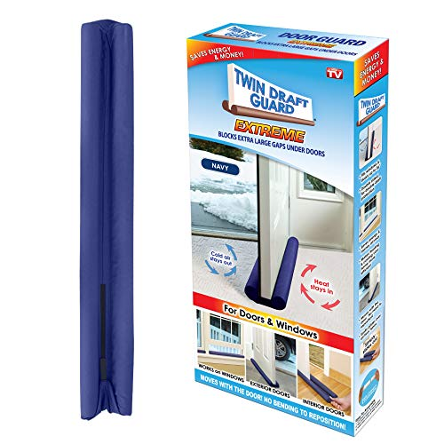 Twin Draft Guard -DNA Energy Saving Under Door Draft Stopper, Single, Navy