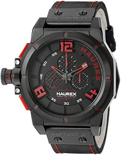 Haurex Italy Men s 6N510URR Space Stainless Steel Watch with Black Band