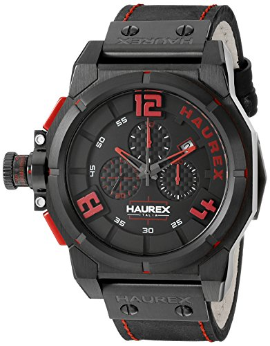 Haurex Italy Men's 6N510URR Space Stainless Steel Watch with Black Band ()