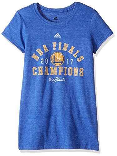 adidas NBA Golden State Warriors Adult Women NBA Finals Retro Champs Too Cap Sleeve Tee, Small, Black Heather