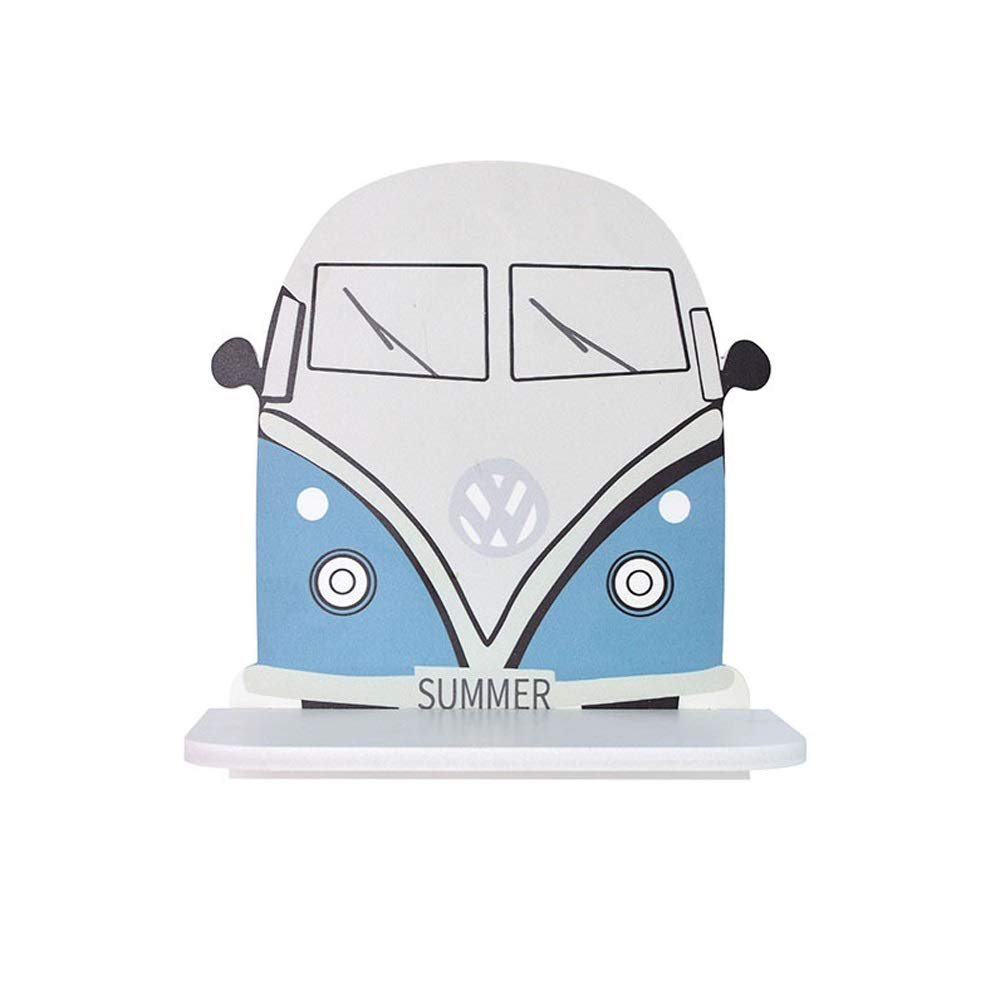 XYQS Creative Personality Wall Shelf, Pine Wood Car Shape Wall Pendant, Living Room Bedroom Cafe Wall Decoration (Color : Blue)