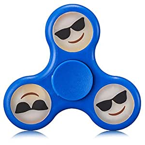 New Emoji Fidget Spinner Glow in the Dark Stress Relief Toy- ADHD Anxiety Boredom Reducer - 2 Minute Plus Spin Time! (Smiling Face With Sunglasses)