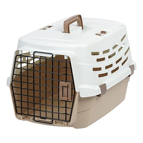 (IRIS Medium Easy Access Pet Travel Carrier, Off-White/Brown)