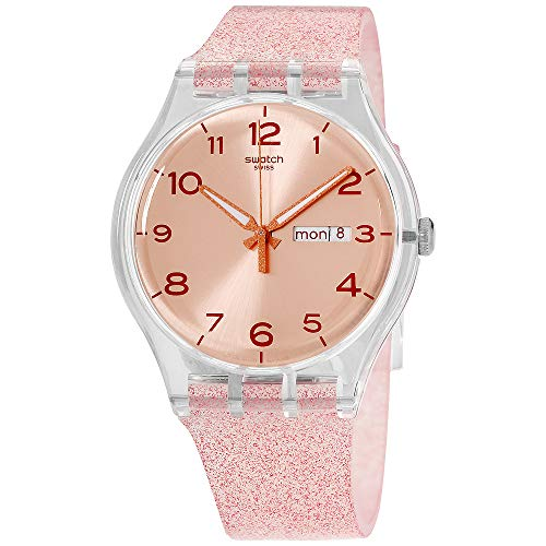 Swatch Unisex Pink Glistar Watch with Sparkling Band SUOK703