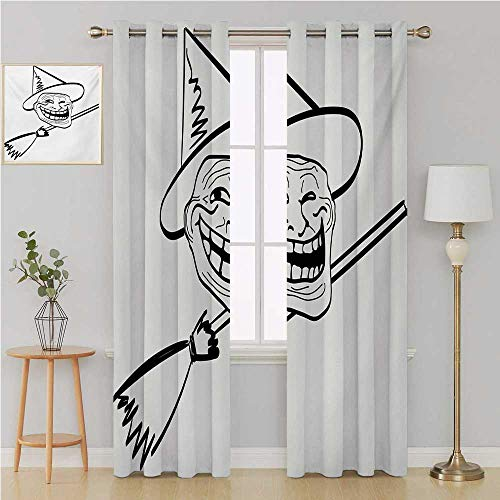 Benmo House Humor grommit Curtain Waterproof Window Curtain,Halloween Spirit Themed Witch Guy Meme LOL Joy Spooky Avatar Artful Image Print Curtains 108 by 108 Inch Black and White