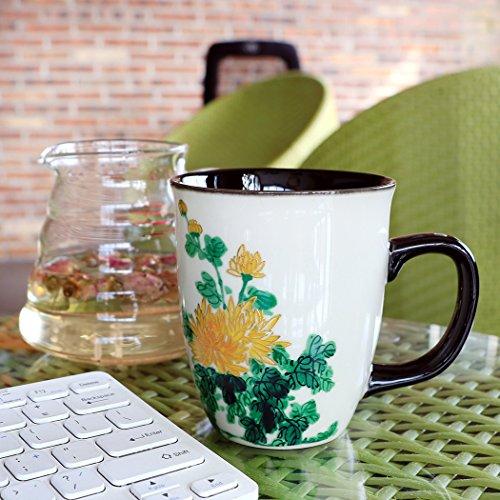 Asmwo Funny Ceramic Magic Heat Color Changing Art Coffee Tea Mug Gold Chrysanthemum Printing Porcelain Mugs for Women…