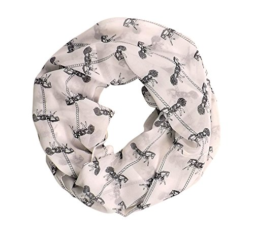 Peach Couture Vintage Womens Scarf Animal Print Mustang Scarf Infinity Scarf Circle Loops White Horse
