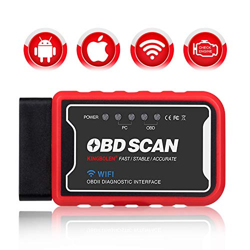 KINGBOLEN WiFi OBD2 Scanner OBD2 Car Code Reader Check Engine Light Diagnostic Tool for iOS Android & Windows Device, Supports All OBDII protocols