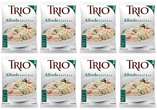 Trio Alfredo Sauce Mix, Creamy Pasta Sauce, Chicken Alfredo, Romano and Parmesan Blend, 16 oz (Pack of 8)