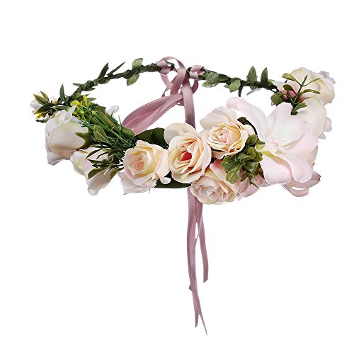 AWAYTR Bohemia Big Lilies Floral Crown Party Wedding Hair Wreaths Hair Bands Flower Headband (Pink)