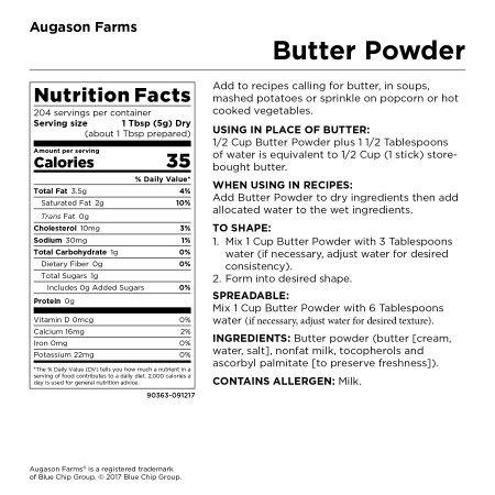 Augason Farms Butter Powder 2 lbs 4 oz No. 10 Can by Augason Farms (Image #2)