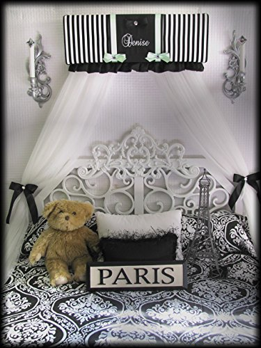 Bedroom Girls Bed Crib Canopy Stripe Black white aqua with FREE WHITE sheer curtains ribbon tiebacks and FREE shipping by So Zoey Boutique SALE (Daybed Canopy Bedding)