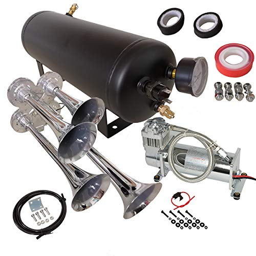 - Quad 4 Trumpet 149DB Loud Train Air Horn Chrome with 1.5 Gallon Tank and 150 PSI Compressor Full Complete Onboard System Kit for Car Boat Truck