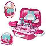 Pretend Play Makeup Toy Beauty Salon Set for Little Girls Kids with Crossbody Shoulder Bag, Princess Vanity Case Dress Up Toys for 3,4,5 yrs Toddlers Make Up Play Girl Birthday Gift Set Hair Dryer Lipsticks (Makeup kit)