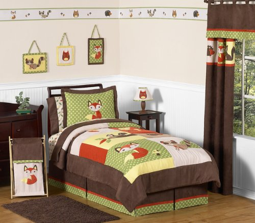 (Sweet Jojo Designs 4-Piece Woodland Forest Animals Kids Bedding Boys Twin Set )