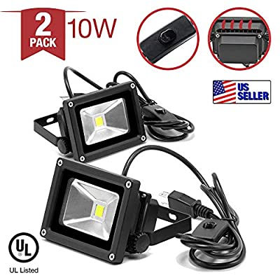 |2-Pack| 10W 5400K LED Flood Light Daylight White Continuous Light