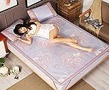 BEIRU Summer Mat Ice Silk Mat Three-piece 1.8 Meters Bed Foldable 1.5m1.2 Straw Mat 0.9 Mat ZXCV (Color : 3, Size : 120190CM)