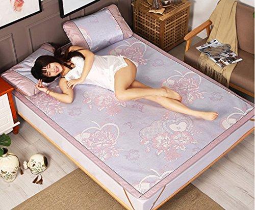 BEIRU Summer Mat Ice Silk Mat Three-piece 1.8 Meters Bed Foldable 1.5m1.2 Straw Mat 0.9 Mat ZXCV (Color : 3, Size : 120190CM) by BEIRU