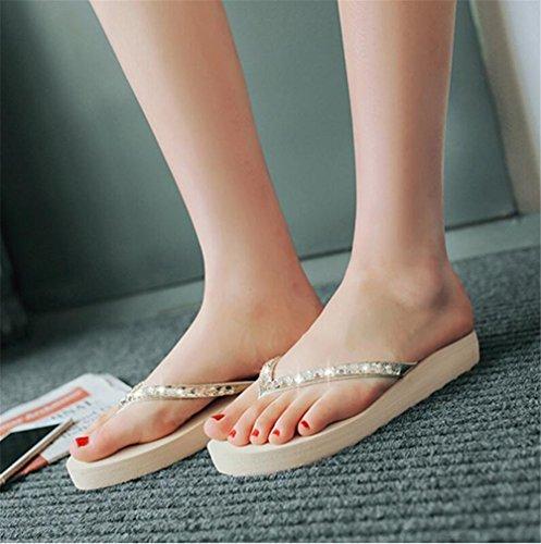 Plataforma De Diamantes De Imitación Para Mujer Cuña De Tacón Medio Sandalias Tanga Zapatillas De Color Beige