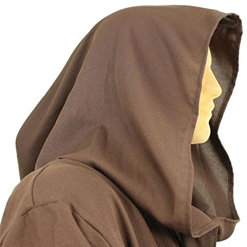 [8020 - JEDI Obi Wan Wizard Costume STAR WARS CLOAK MONK adult Robe Brown (XXL)] (Brown Monk Robe Costume)