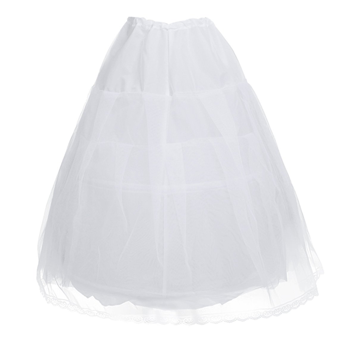 Freebily Kids Flower Girls' Crinoline Petticoat 2 Hoops Net Wedding Bridesmaid Drawstring Underskirt Slip