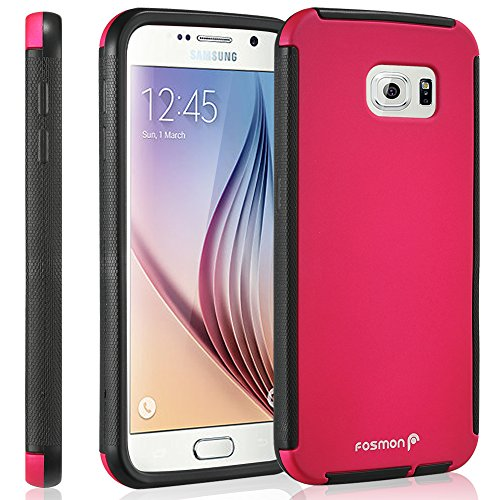 Galaxy S6 Case, Fosmon HYBO-SNAP Hybrid Case with Built in Screen Protector [HD Ultra Clear] Full Body Protection Hard Cover for Samsung Galaxy S6 (Pink/Black)
