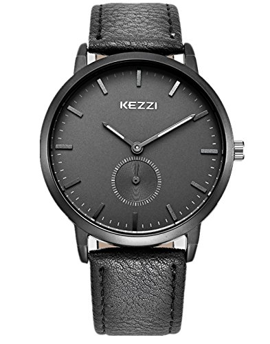 Mens Watches Black Leather Band Business Sport Quartz Wristwatches Fashion Casual Watch Waterproof Gifts for Friend, Stainless Steel Case Wrist Watches