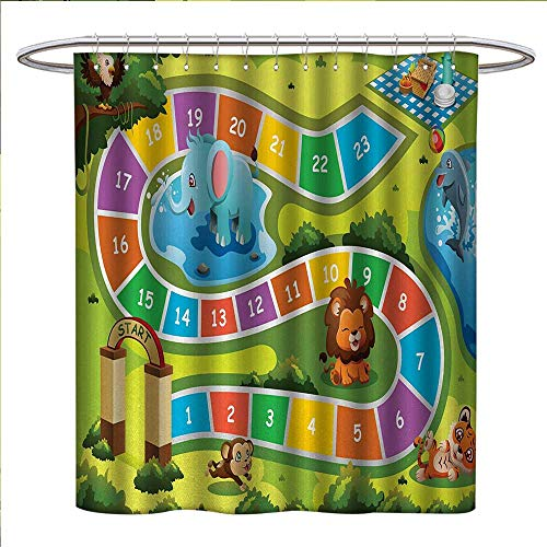 Kids Activity Shower Curtains Digital Printing Picnic in The Forrest Colorful Pathway to The Blanket with Friendly Animals Bathroom Accessories W69 x L75 Multicolor -