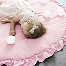 Pueri Children Baby Game Mat Round Kids' Room Rug Play Crawl Mat Tent Bed Decoration (Pink)