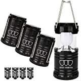 LED Camping Lantern - Ultra Bright LED Lantern - Camping Lantern - Gold Armour Camping Equipment Lights - for Hiking, Emergencies, Hurricanes, Outages, Storms, Camping - Best Gift Ideas - Black, 4-Pack