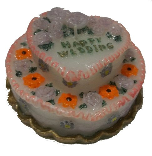 Wedding Candle Cake With Flowers Two Tiers ()