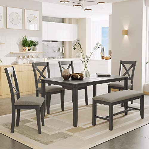 P PURLOVE 6 Piece Dining Table Set