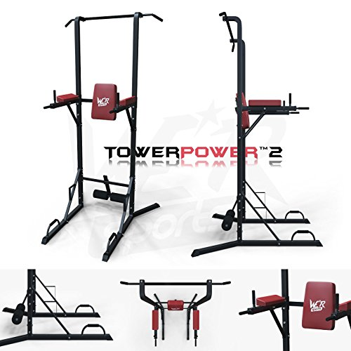 We R Sports Chin Up Pull Up Sit Ups Power Tower Vertical Knee Raise Dip Station Workout Bar by We R Sports