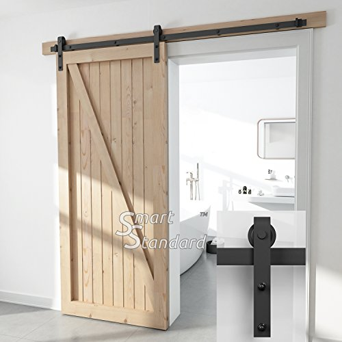 "SMARTSTANDARD SDH-0066-STANDARD-BK Heavy Duty Sliding Barn Door Hardware Kit, 6.6ft Single Rail, Black, Super Smoothly & Quietly, Simple & Easy to Install, Fit 36""-40"" Wide DoorPanel (J Shape Hangers)"