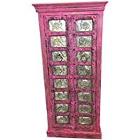 Rustic Furniture Mogulinterior Antique Armoire Brass Carved PINK Patina Storage Cabinet Moroccan Eclectic Vintage Indian Furniture