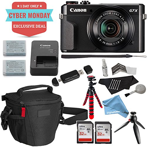 "Canon PowerShot G7 X Mark II Video Creator Kit, SanDisk 32GB Memory Card 2 Pack, 12"" Flexible Tripod, Camera Bag, DigitalAndMore Cleaning Kit and Accessory Bundle (Cyber Monday Deal!)"