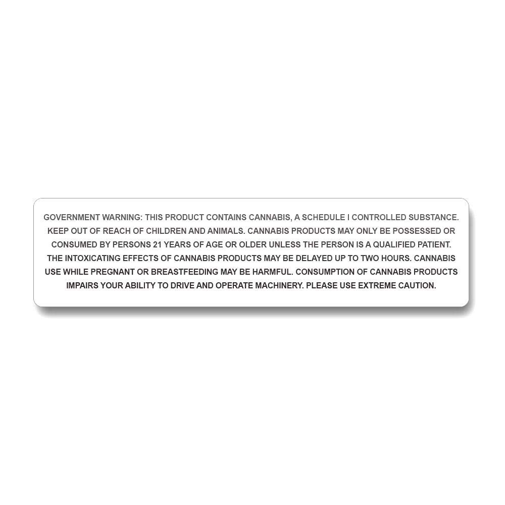 California Government Warning Labels - 1,000 Count by PREMIUM VIALS CREATIVE PACKAGING SOLUTIONS