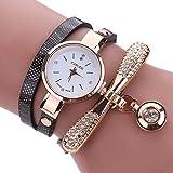 Inkach Women Leather Rhinestone Analog Quartz Wrist Watches Sport Watch Gift (Black)