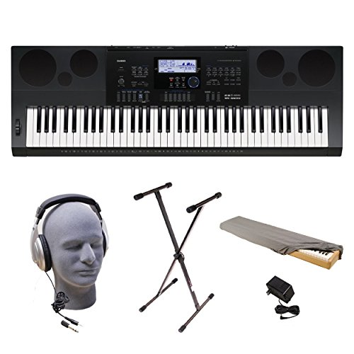 K 76-Key Premium Keyboard Pack with Stand, Power Adapter, Dust Cover, and Samson HP30 Closed-Cup Headphones (32 Channel Dust Cover)