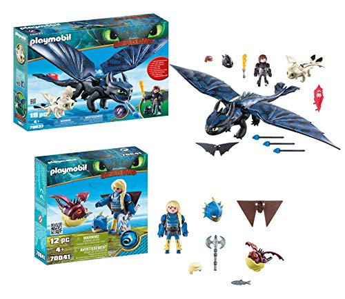 Playmobil Astrid with Hobgobbler and Hiccup and Toothless with Baby Dragon -