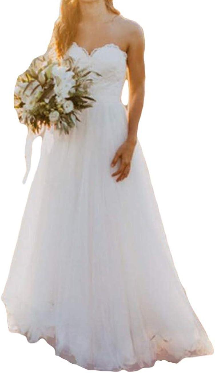 Robes de mari/ée Longue Robe de Mariage Robe Nuptiale Femme A-Ligne Dentelle Chiffon