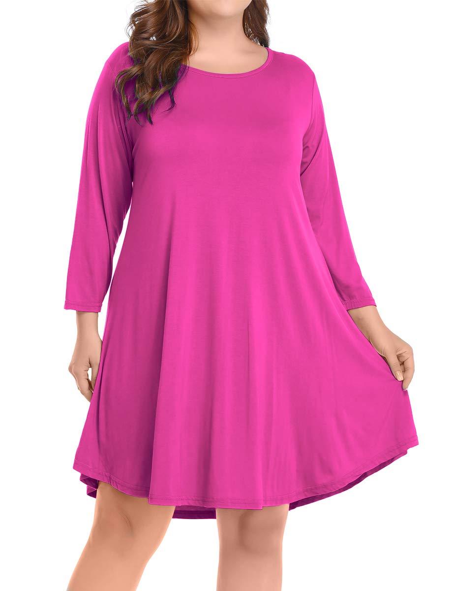 BELAROI Women's Casual Flare Plain Simple 3/4 Sleeve T-Shirt Loose Dress (S, Fushia)