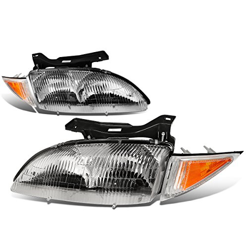 1999 Chevy Cavalier Z24 - For Chevy Cavalier Pair of Chrome Housing Headlight + Amber Corner lights 3rd gen Z24 RS