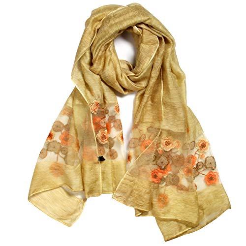 Shawl Silk Scarf New (Womens printing Embroidery Long Scarf Lightweight Wrap Shawl Silk Scarf)