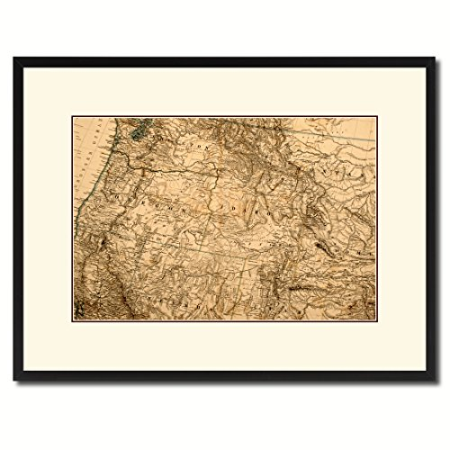 Us Pacific Northwest Vintage Antique Map 36098 Print on Canvas with Picture Frame Urban Wall Home Décor Interior Bedroom Design Art Gift Ideas Black 16