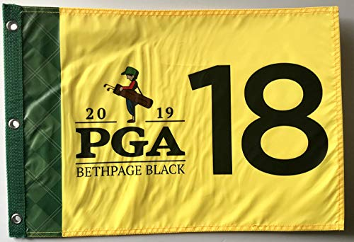 2019 Pga Championship flag bethpage black golf silkcreen logo yellow pin flag